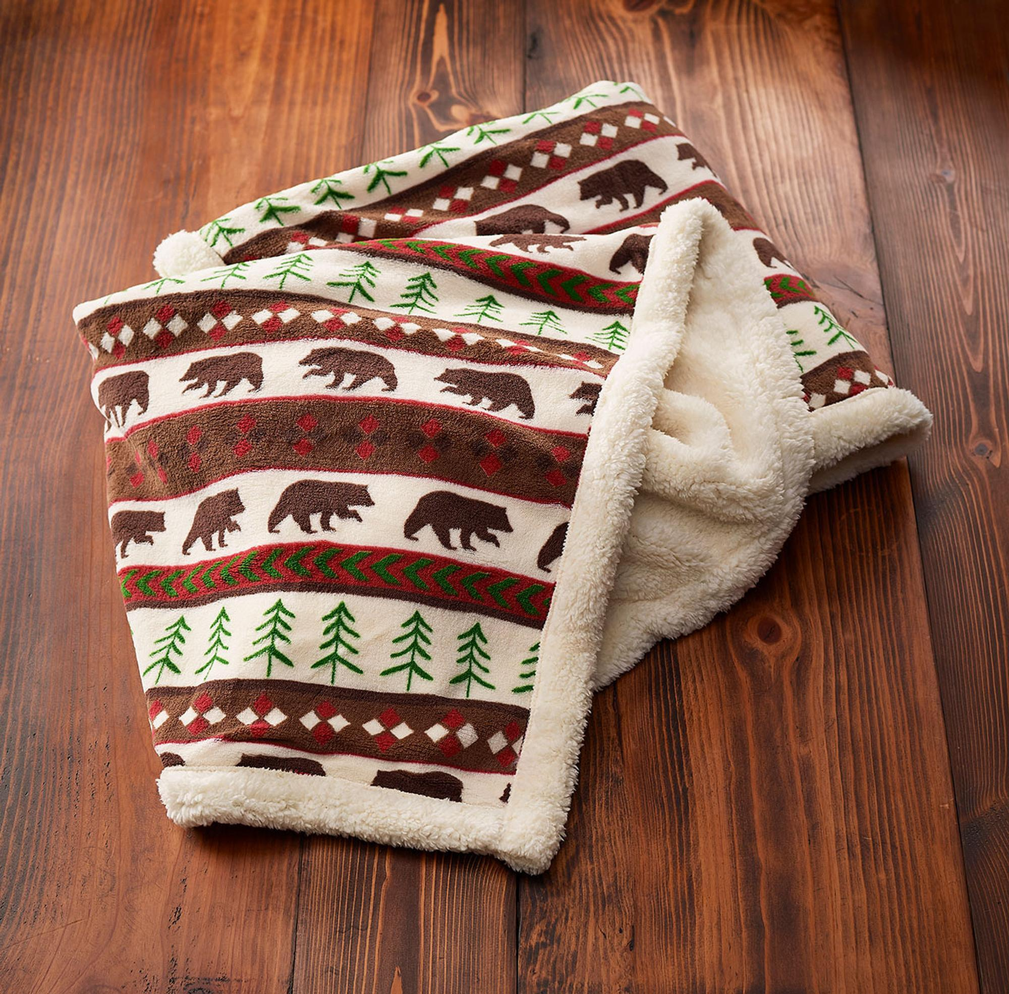Lodge Fair Isle-Bear Throw Blanket