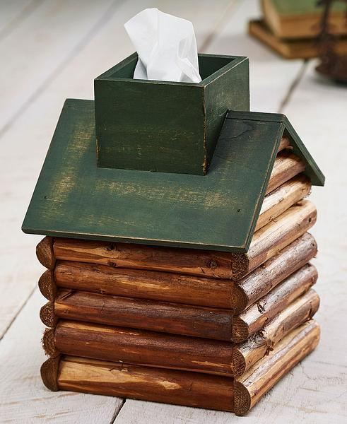 Green Roof Log Cabin Tissue Box Cover