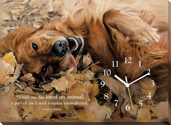 Love Of Pets—golden Retriever Canvas Clock