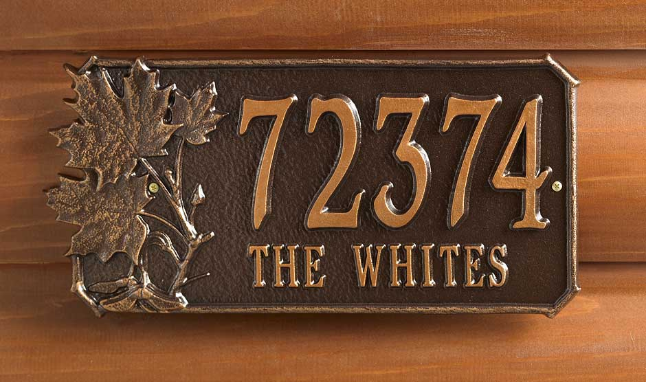 Maple Leaves Address Plaque