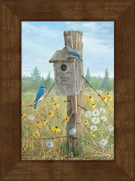 Meadow Song—bluebird Personalized Framed Canvas
