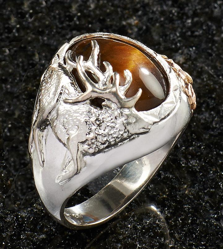Tigers Eye Elk Mens Ring
