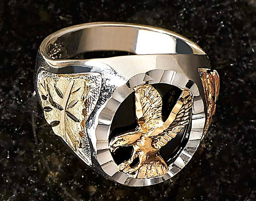 Gold & Silver Eagle Mens Ring
