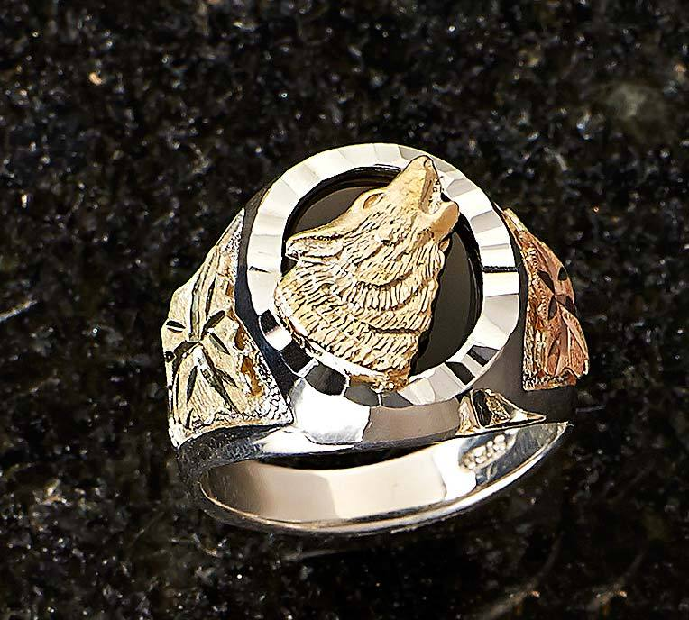 Gold & Silver Wolf Mens Ring