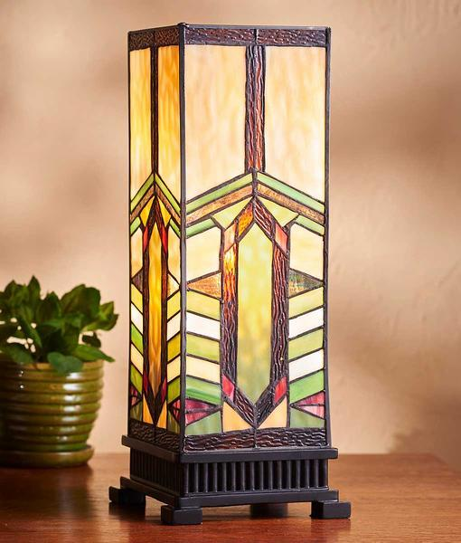 Harvest Wheat Stained Glass Hurricane Lamp