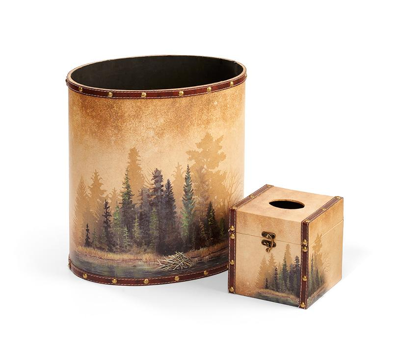 <I>Misty Forest</i> Wastebasket & Tissue Set