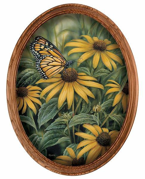 Monarch Framed Canvas Oval