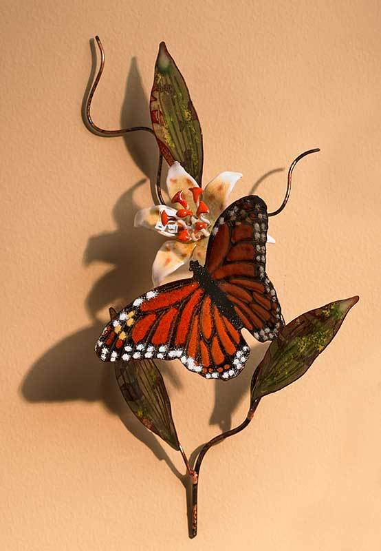 Monarch Butterfly Enamel Wall Art