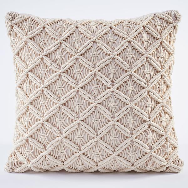 Cream Crochet Decorative Pillow