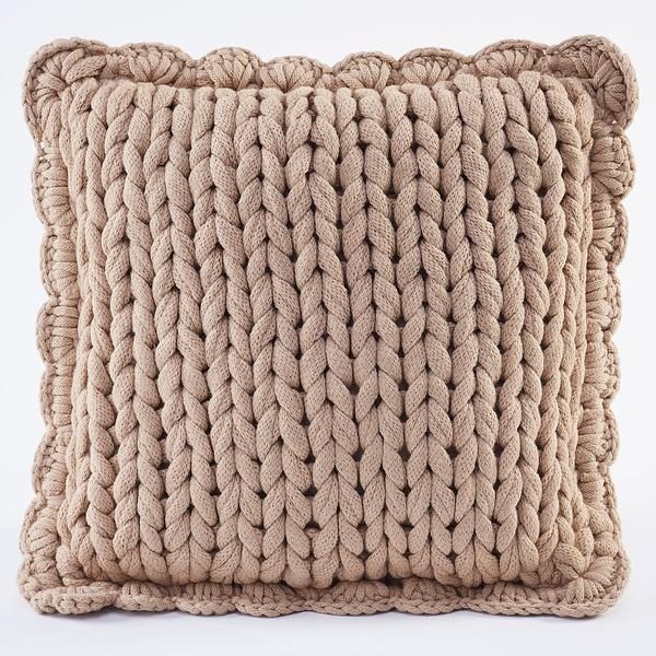Taupe Chunky Knit Pillow