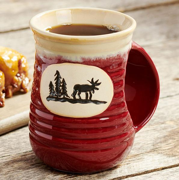 Moose On Red Cozy Hand Stoneware Mug
