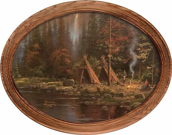 <I>Mountains Declare His Glory&mdash;campsite</i> Framed Canvas Oval