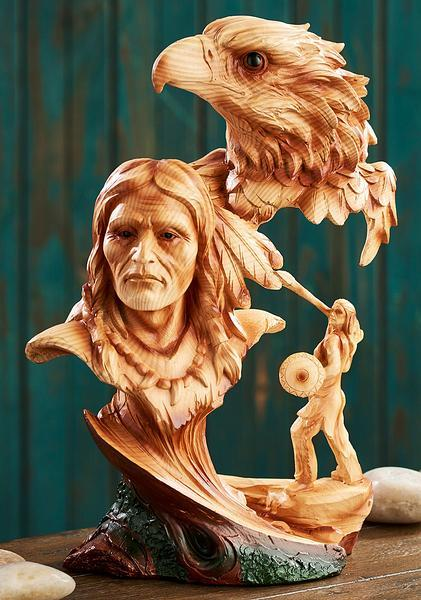 Native American With Eagle Wood Grain Sculpture