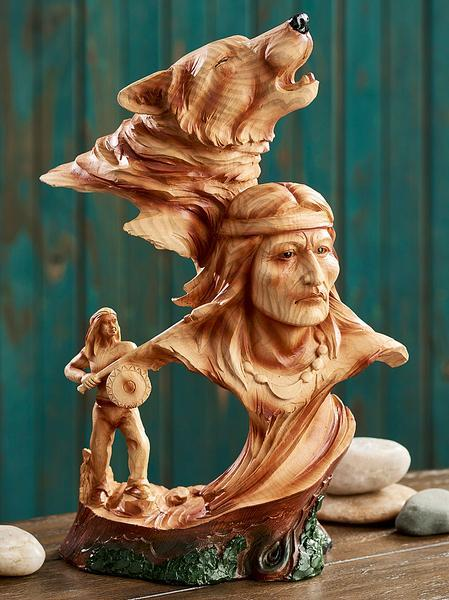 Native American With Wolf Wood Grain Sculpture
