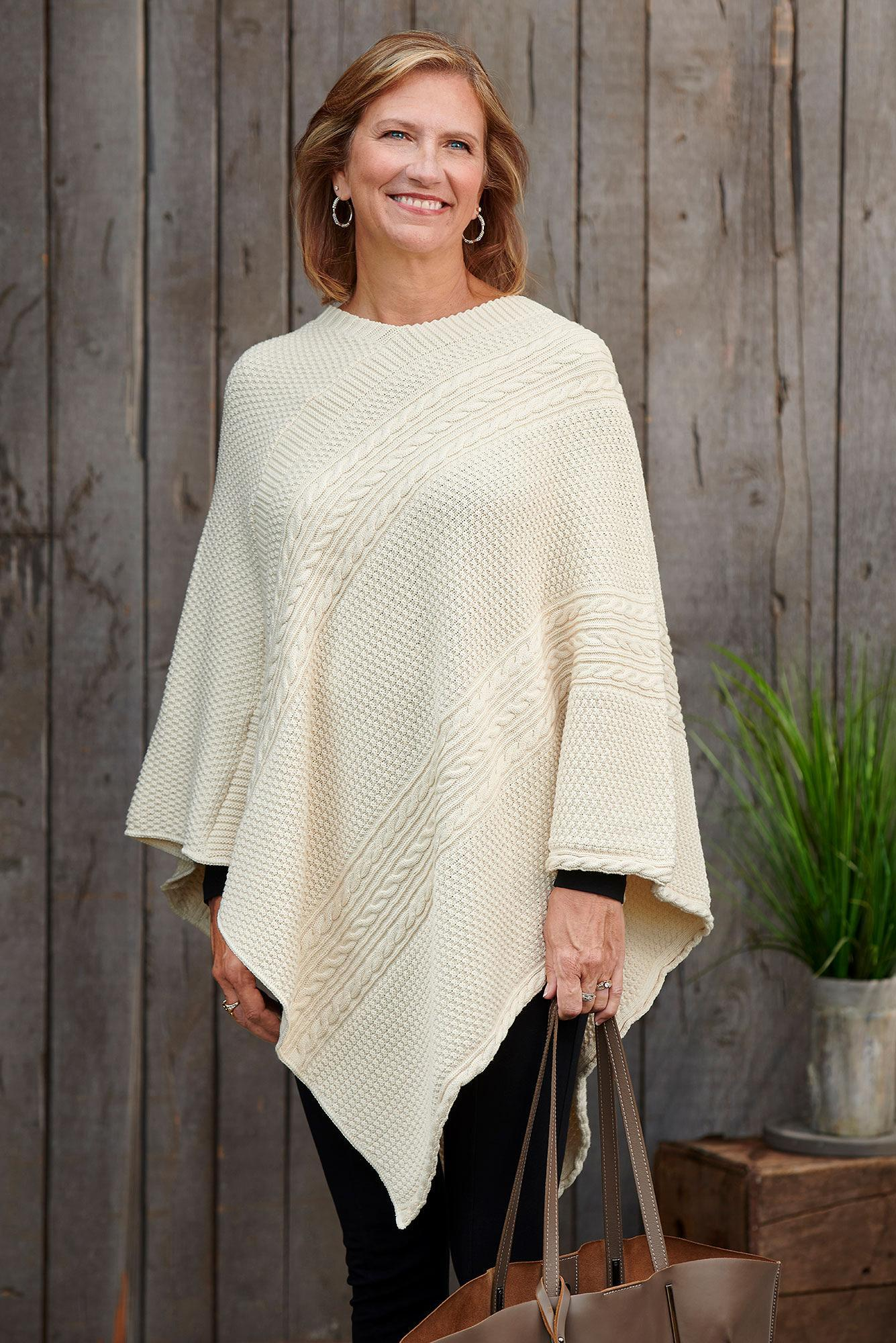 Natural Cotton Cable Poncho