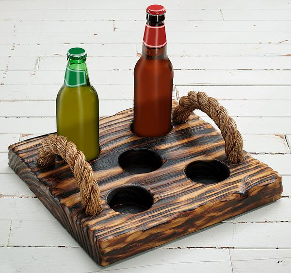 Natural Wood Beverage Caddy (Bottles)