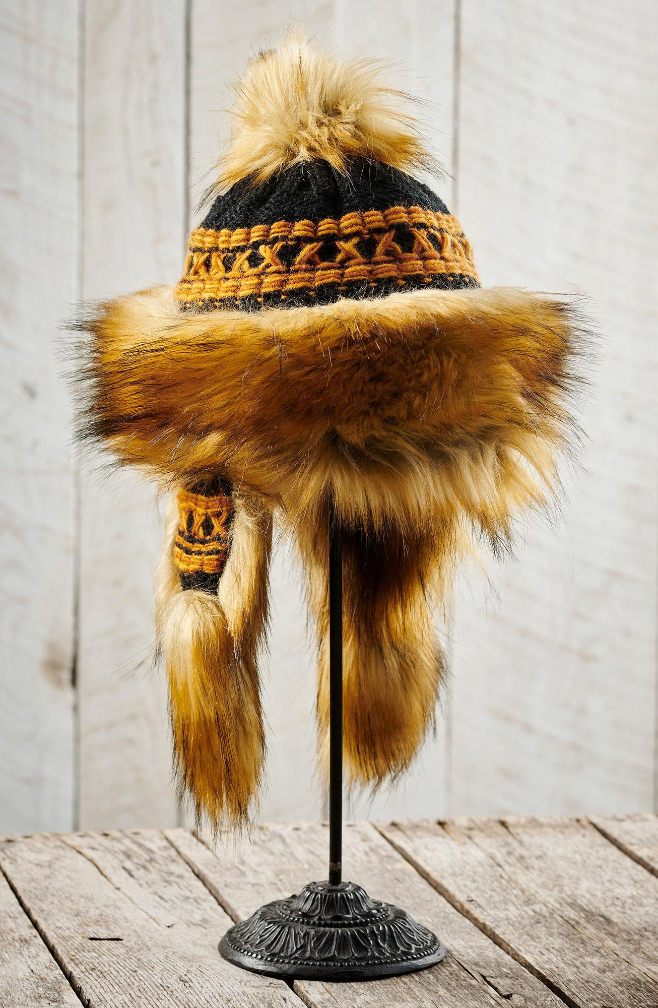 Black/Rust Orange New Zealand Wool Bomber Hat