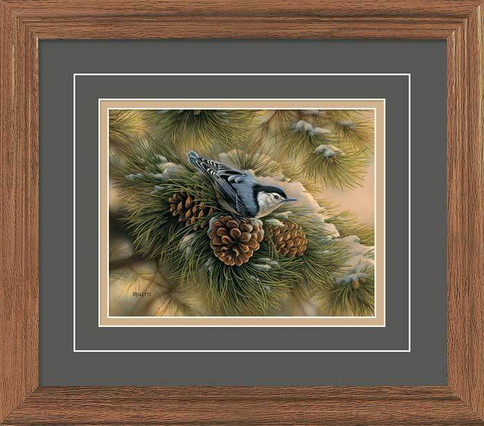 <I>December Dawn&mdash;nuthatch</i> Gna Deluxe Framed Print<Br/>16.25H X 18.5W Art Collection