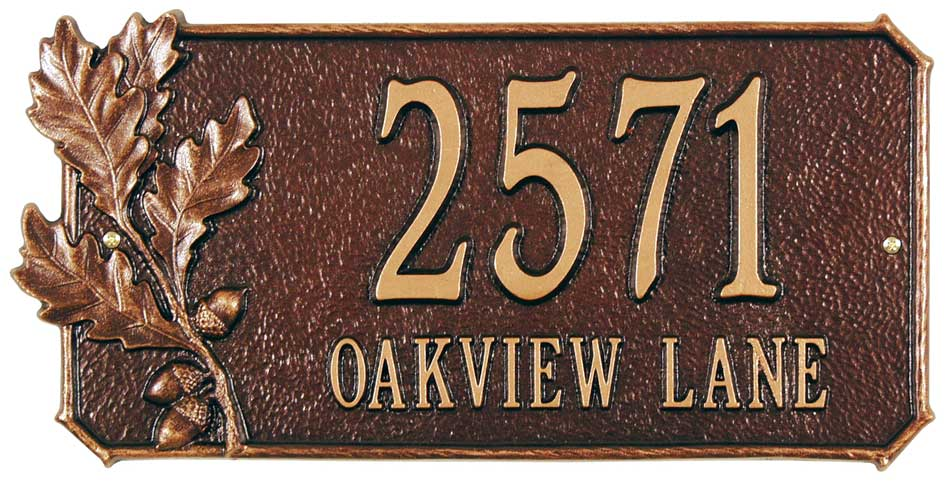 Oak Leaves Address Plaque