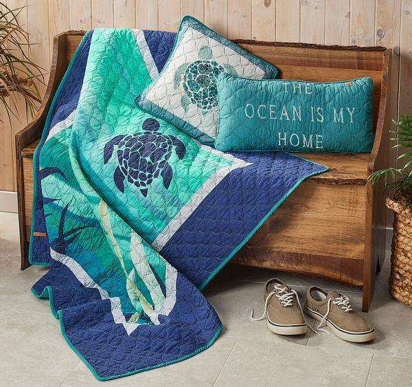Ocean Life—turtle Throw And Pillow