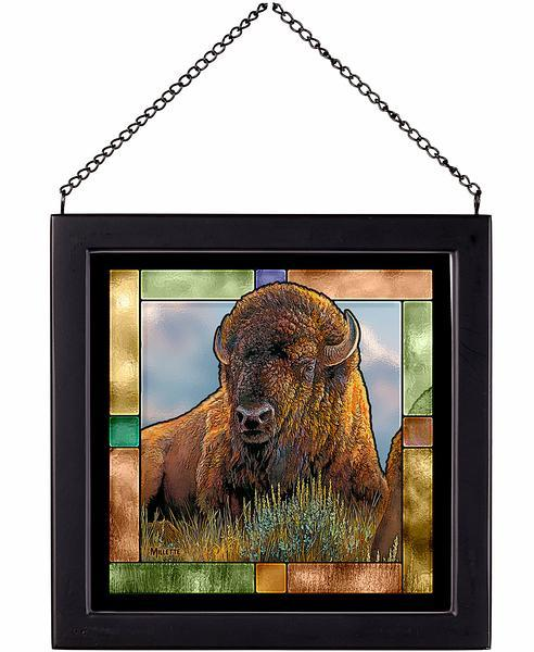 <I>Old Timer&mdash;bison</i> Stained Glass Art