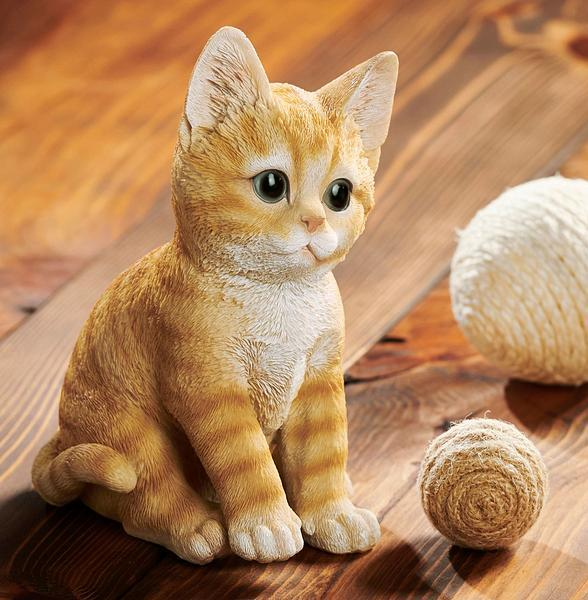 Orange Tabby Kitten Sculpture