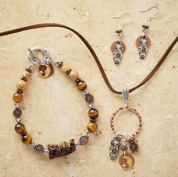 Owl and Moon Necklace, Earrings & Bracelet