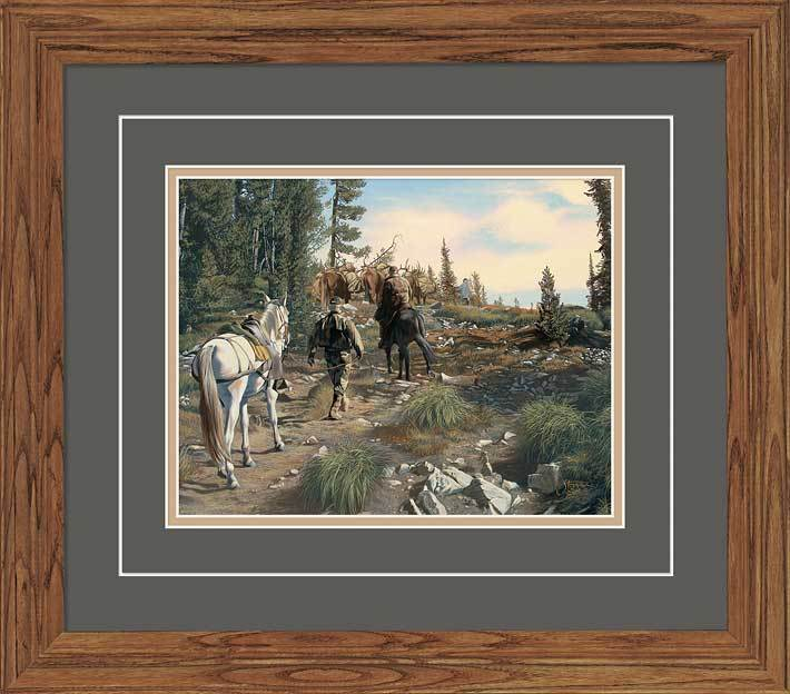 <I>The Trek Home&mdash;elk Hunters</i> Gna Deluxe Framed Print