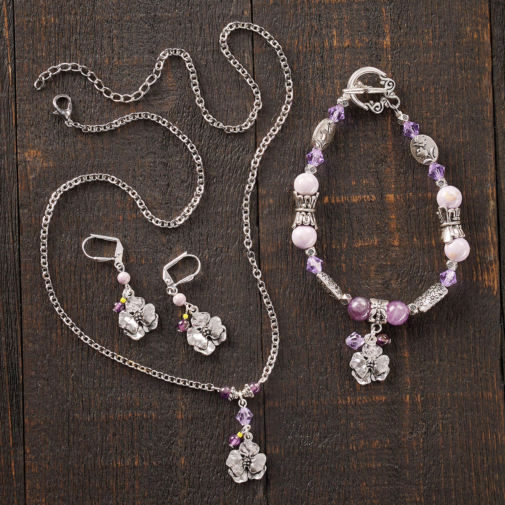 Pansy Necklace, Earrings & Bracelet