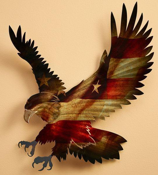 Patriotic Bald Eagle Metal Wall Art