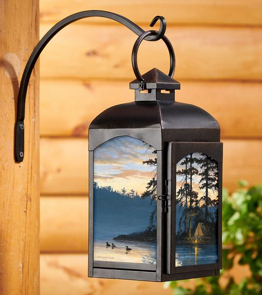Peace And Quiet Loon Candle Lantern (Black)