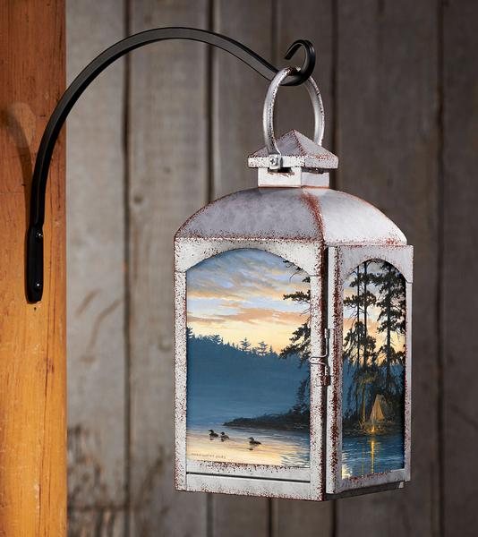 Peace & Quiet—loons Candle Lantern (Galvanized Gray)