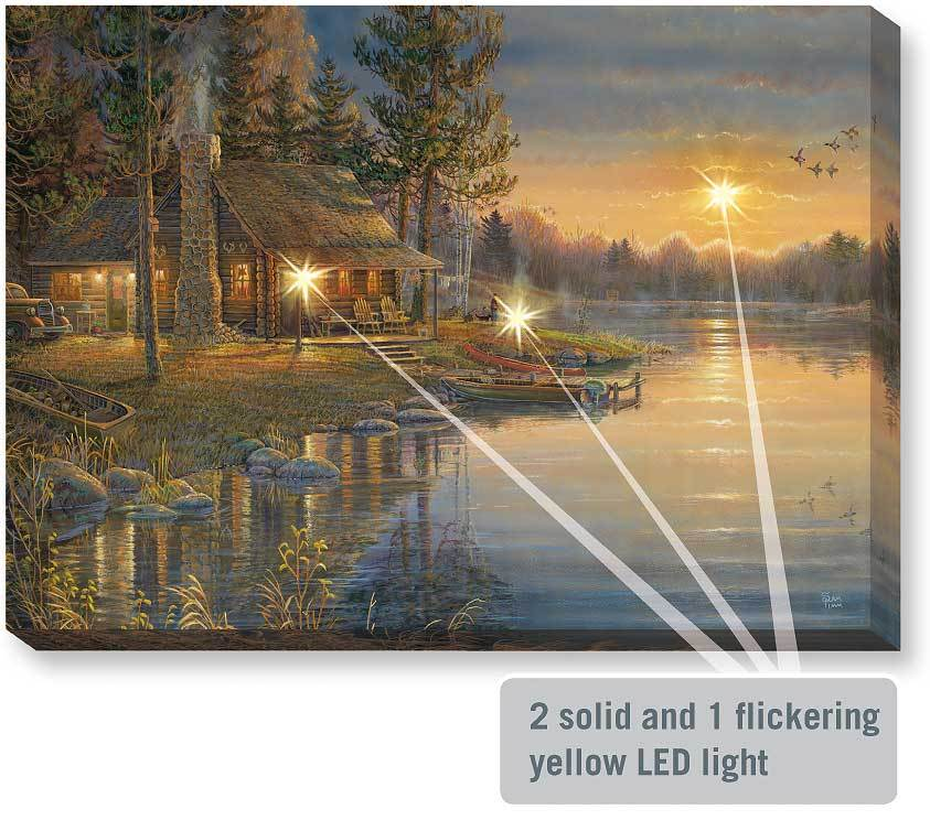 Peaceful Cabin Lighted Wrapped Canvas