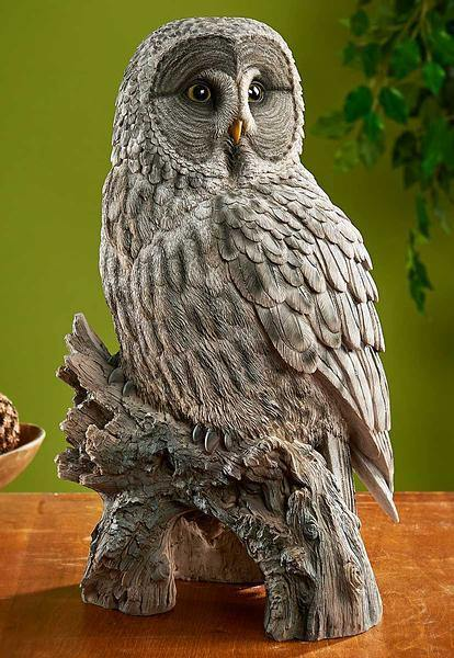 Gray Owl Sculpture