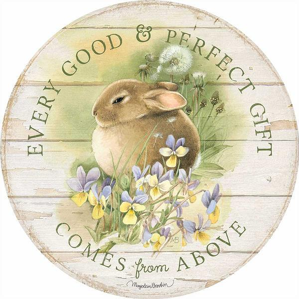 <I>Every Good & Perfect Gift</i> 21 Round Wood Sign