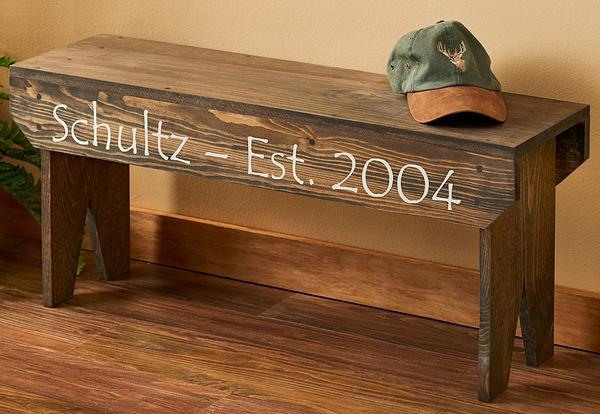 Solid Pine Personalized Wood Bench