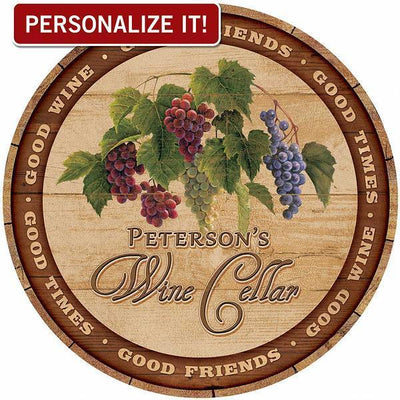 Welcome To Our Wine Cellar Personalized 21 Round Wood Sign