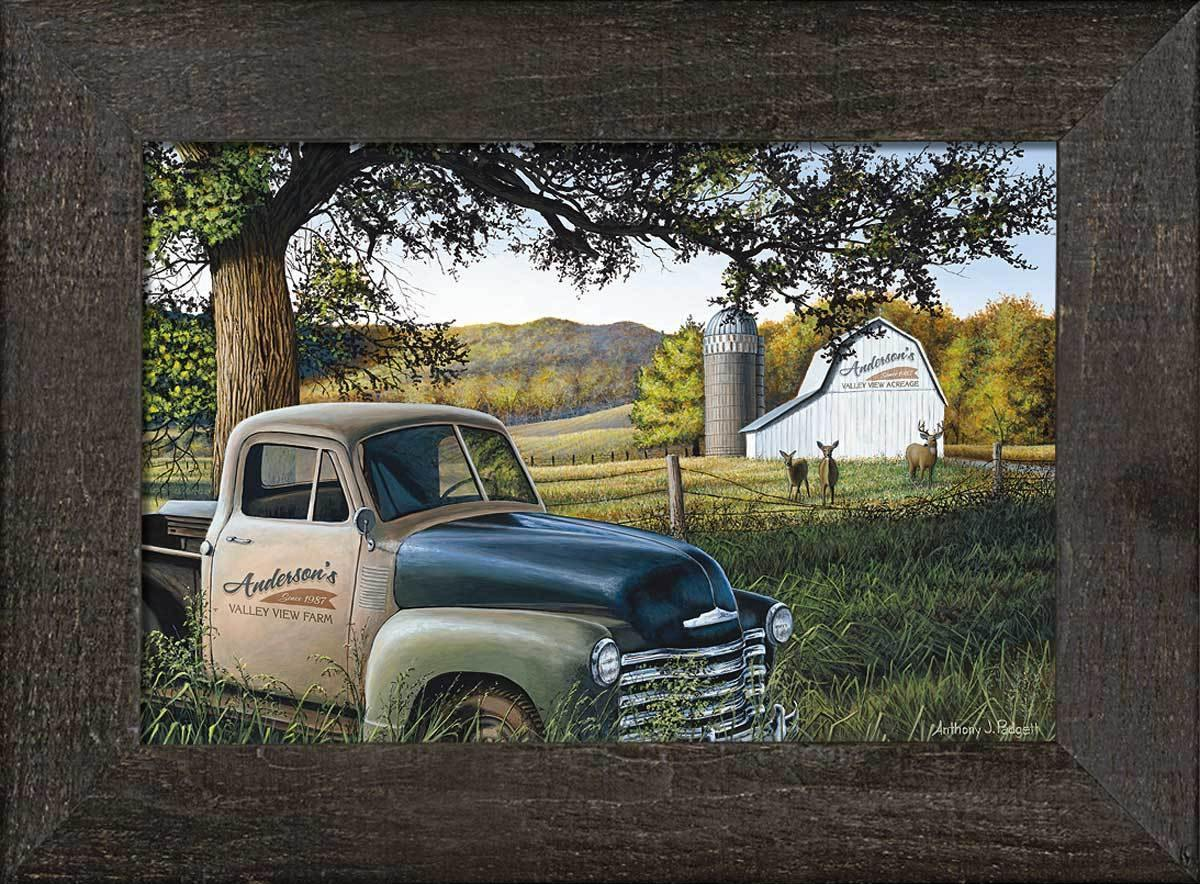 Farm Truck—whitetail Deer Personalized Framed Canvas