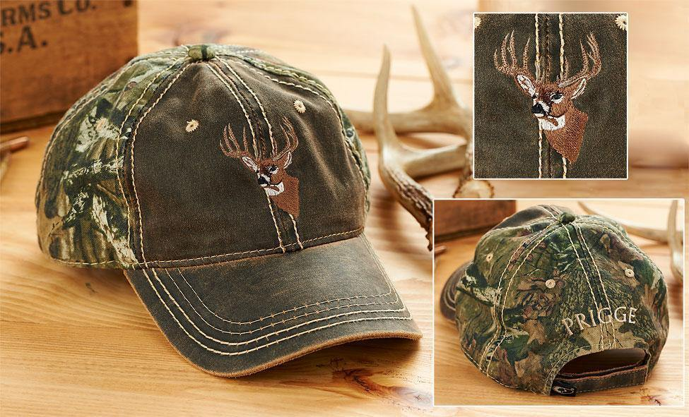 Camo Whitetail Deer Bust Personalized Cap