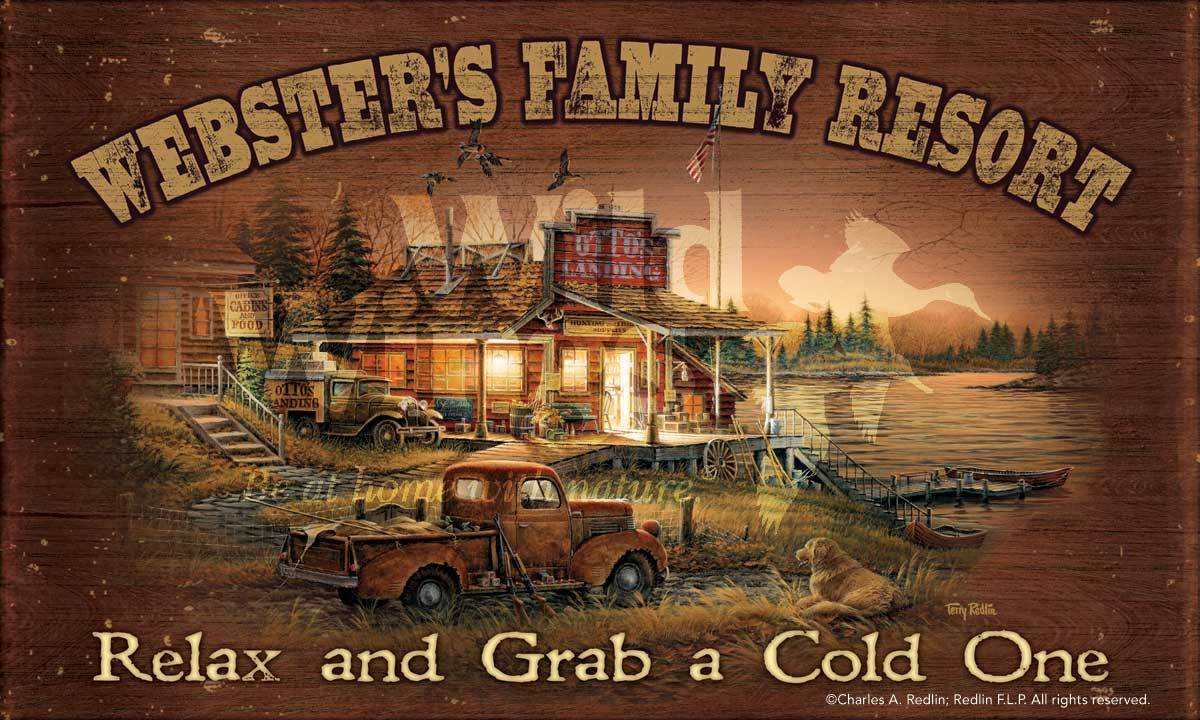 <I>Family Resort</i> Personalized 18 X 30 Wood Sign