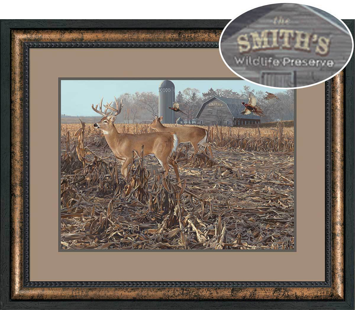 Back Forty&mdash;whitetail Deer Personalized Framed Canvas<Br/>28.5H X 34.5W Art Collection