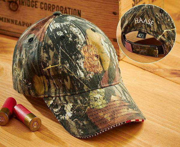Golden Retriever And Camo Personalized Cap