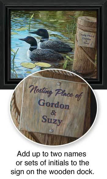 <I>Toddy Pond&mdash;loons</i> Personalized Framed Canvas