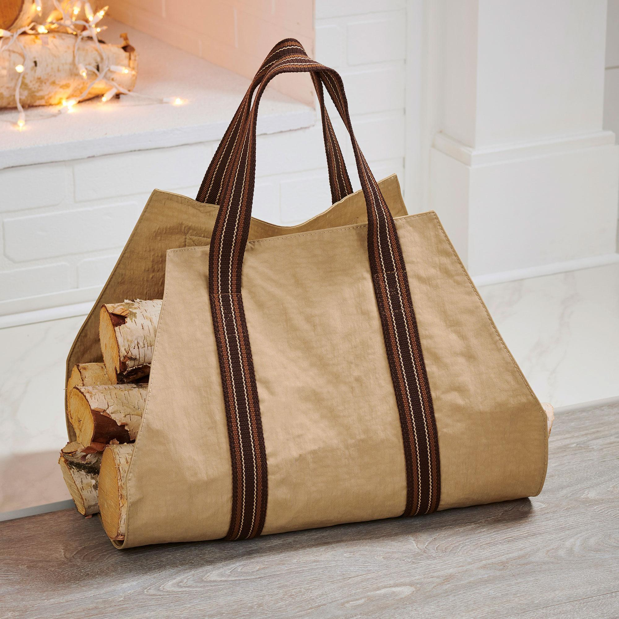 Tan Log Carrier Bag
