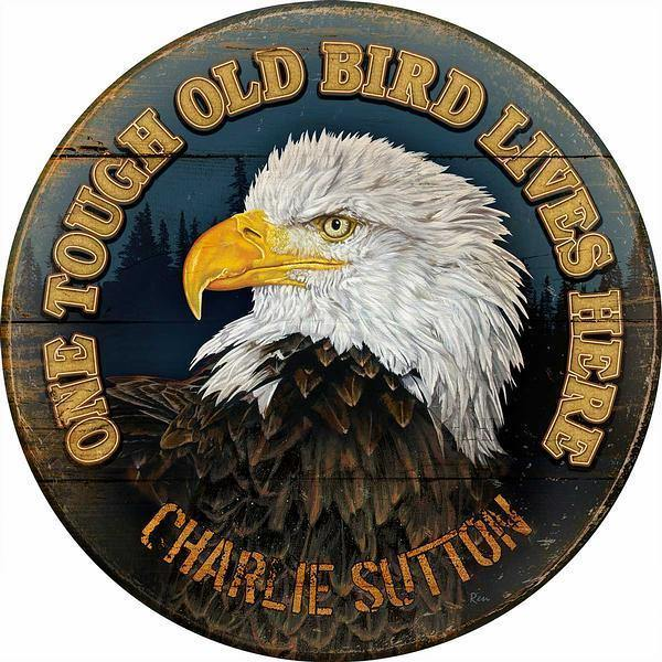 One Tough Old Bird Personalized 21 Round Wood Sign