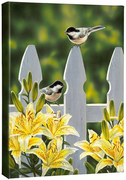 <I>Picket Fence&mdash;chickadees</i> Gallery Wrapped Canvas