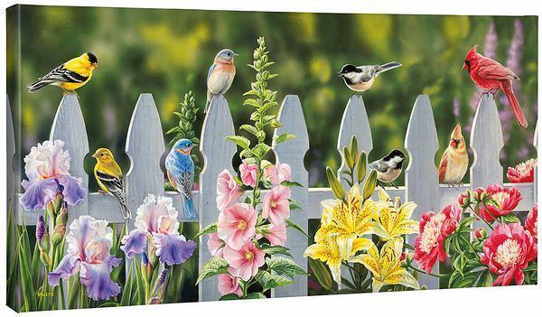 <I>Picket Fence&mdash;songbirds</i> Gallery Wrapped Canvas