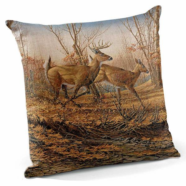Autumn Run—whitetail Deer 18 Decorative Pillow