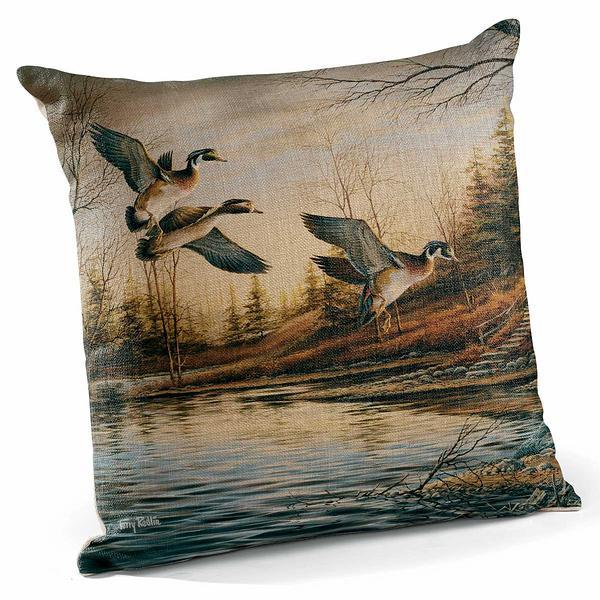 Backwoods Cabin—wood Ducks 18 Decorative Pillow