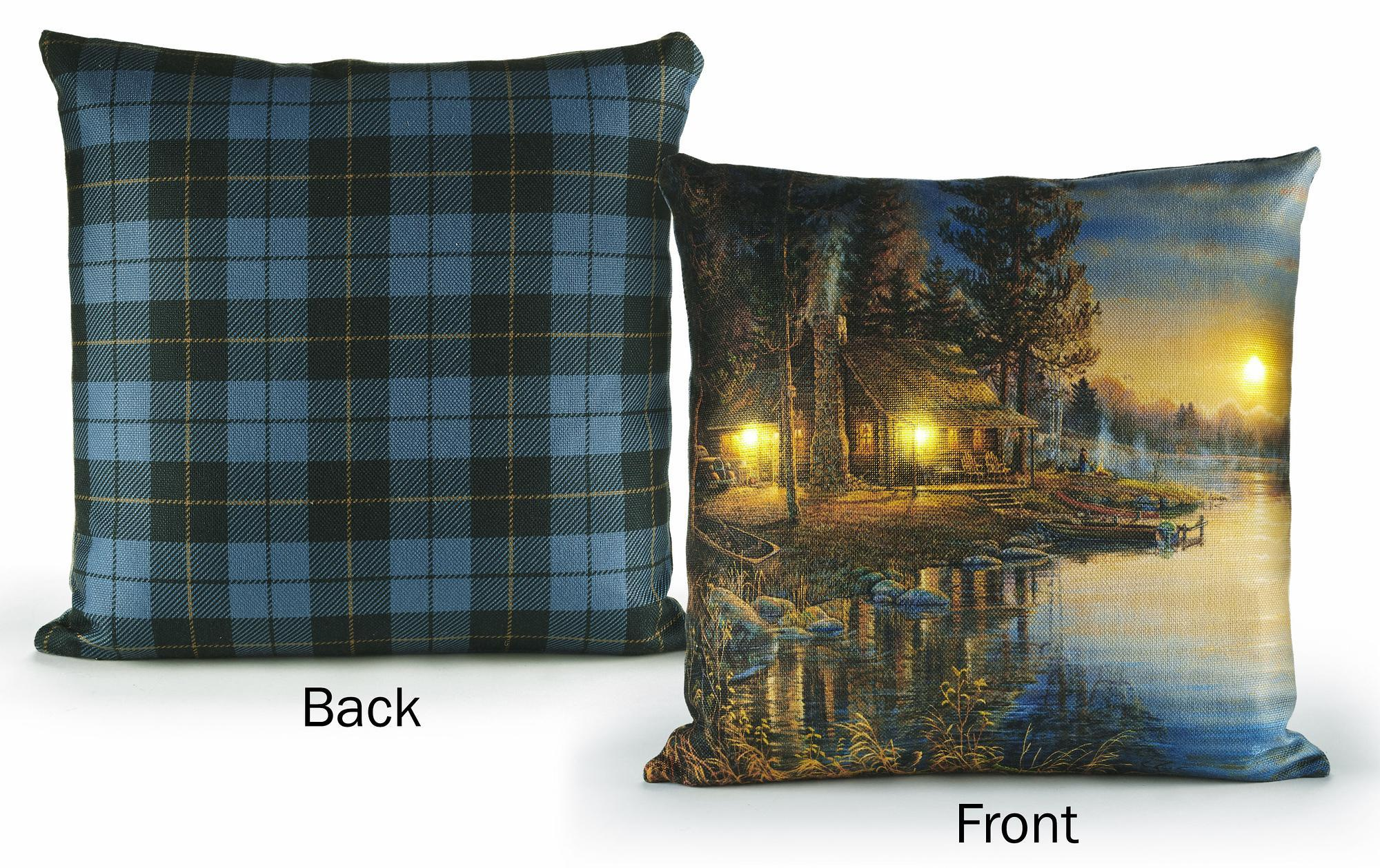 "A Peaceful Place-Cabin 18"" Lighted Pillow"